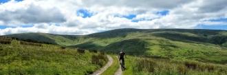 Mountain biking in Berwyn Hills in North Wales