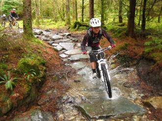 Riding the slabs on the Beast at Coed-yBrenin